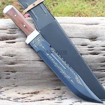 "Thai Bowie Knife Machete Talisman 12"" Fixed Blade Hunting Survival With Sheath"
