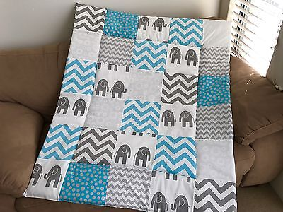 Blue & Grey Elephant Patchwork Cot Quilt or Playmat Handmade