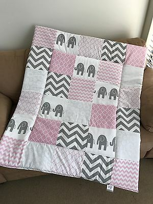 Pink & Grey Elephant Patchwork Cot Quilt or Playmat Handmade