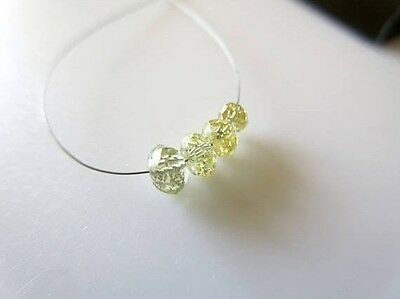 4 Pieces 3.5 To 4.5mm Rare Clear Yellow Diamond Faceted Rondelle Beads DDS481/13
