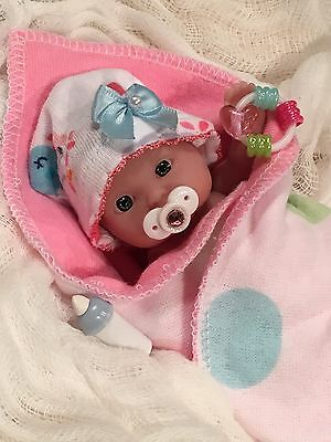 """CUTE 5 pc GiRL Baby DOLL CLOTHES~HaT~PaCifieR~ToY~FOR 5-6"""" Mini Reborn~Berenguer"""