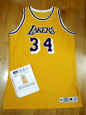 1996-97 Champion Lakers Shaquille O'Neal Game Worn Issued Home Jersey Worn