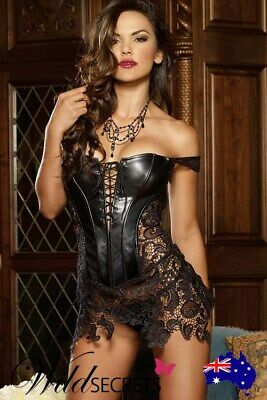 NEW Dreamgirl Beyoncé Faux leather and Venice Lace Corset with Thong