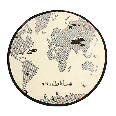 Soft Round World Map Play Rug Kid Carpet Game Mat Bedroom Baby Crawling Blanket