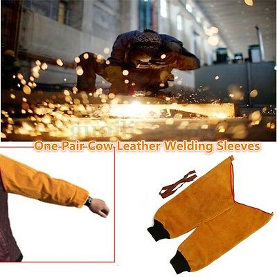 One Pair Leather Welding Sleeves with Elastic Cuff Welder's Splatter Protective