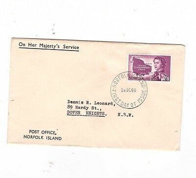 Norfolk Island 1960 2/8 Local Govt on OHMS POST OFFICE FDC    SCARCE