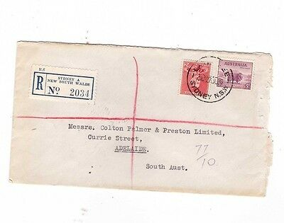 Australia 1939 7d Registered LATE FEE Cover to Adelaide, cds Sydney NSW