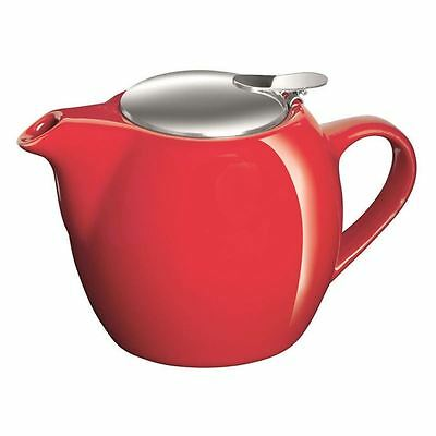 Avanti - Camelia Fire Engine Red Ceramic Tea Pot with Stainless Steel Lid and In