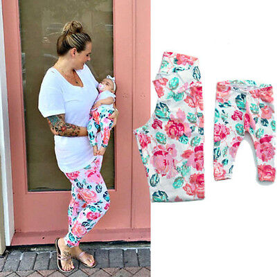 Kids Baby Girls Mama Matching Leggings Flower Printed Stretch Pants Trousers