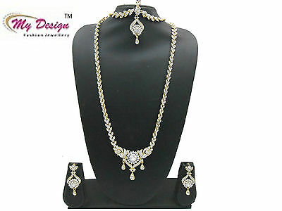 White Gold Plated Indian Ethnic Bollywood Bridal Fashion Jewelry Long Necklace