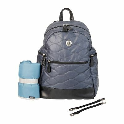 OiOi Cotton Quilted Nappy Backpack Indigo (Designer Brand Back Pack) +FREE GIFT