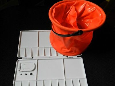 Durable Artist Watercolour Mixing Folding Palette Small Collapsible Water Bucket