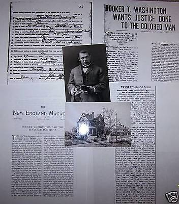 Booker T Washington Photos +DEATH CERTIFICATE Tuskegee Black History Civil Right