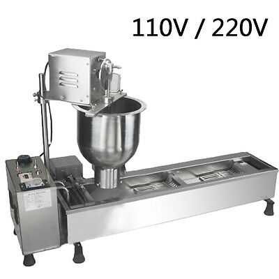 110V/220V Donut Making Maker Automatic Machine Wide Oil Tank w/ 3 Sets Free Mold