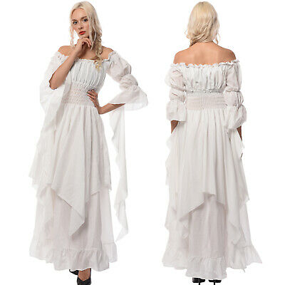 Medieval Renaissance White Long Court Dress Night Princess Nightwear USA SHIP