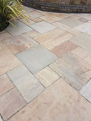 Golden Sand / Buff Indian Sandstone Paving Slabs Patio Flags Garden Slabs (19m2)