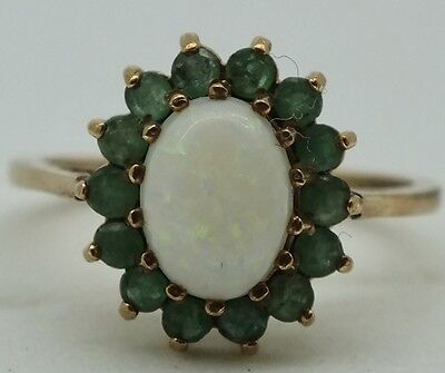 Vintage 9ct gold Opal and Emerald cluster ring. Size N.