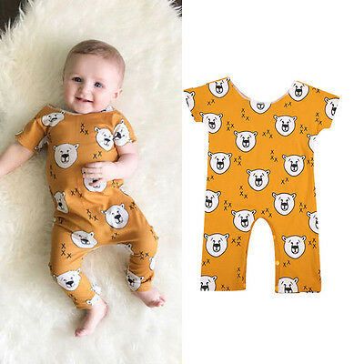 UK Toddler Infant Baby Girl Boy Lion Romper Jumpsuit Playsuit Outfits Clothes