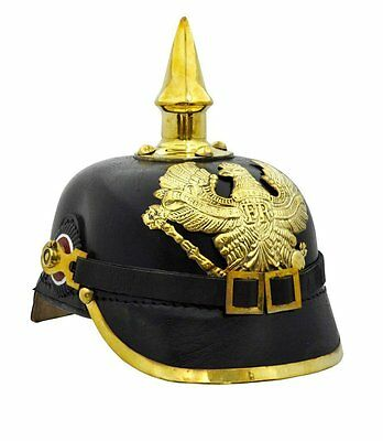 Leather German Pickelhaube Helmet Prussian Helmet  WW1 helmet, leather and brass