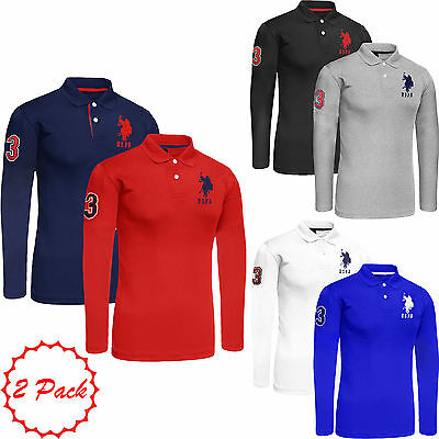 Mens 2 Pack Branded Designer Long Sleeved Polo Shirt Big Pony Lauren Top