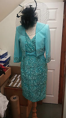 SALE L'Atelier Mother of the Bride Turquoise & Black Size 12 BRAND NEW RRP £360