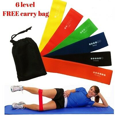 Set of 6 Resistance Exercise Loop Bands Home Gym Fitness Premium Natural Latex