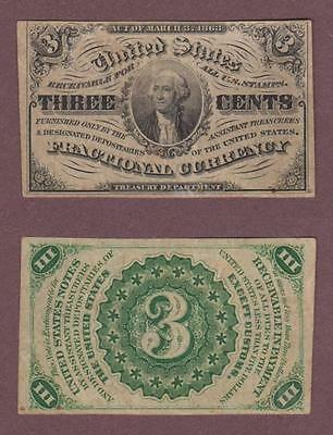 United States Fractional Currency 3 Three Cents Pretty Nice  ---  Mdav