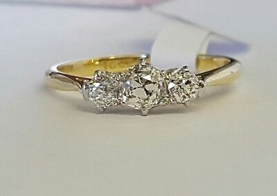 18ct gold and platinum 3 stone old cut diamond ring 0.65ct
