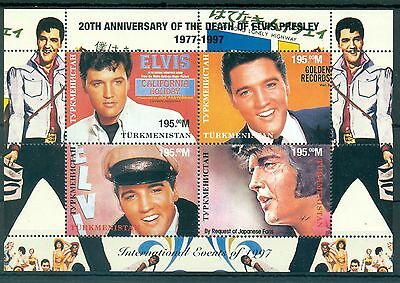 TURKMENISTAN * 1997 * M/Sheet (4 stamps)* MNH** Elvis Presley 20th Anniversary
