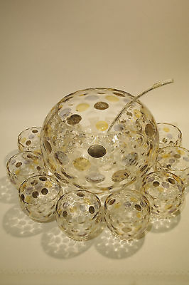RARE Vintage Retro Bohemian Crystal Punchbowl & Glasses Set Large Bowl & 10 Cups