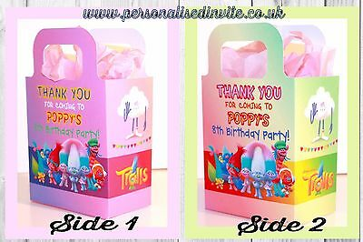 Personalised Trolls Party Loot Bags Favour, Treat Gift Sweets Boxes Movie Themed