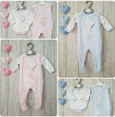 Premature Embroidered Special Little One 2 Piece Dungaree Style Romper