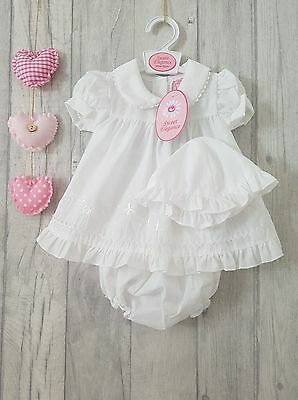 Premature & Newborn Gorgeous White Embroidered Flower Dress Sun Hat & Bloomers