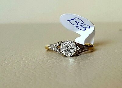18ct gold and platinum old cut solitaire diamond ring 0.42ct