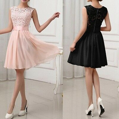 Women Floral Casual Dress Cocktail Ball Gown Evening Party Lace Bridesmaid Dress