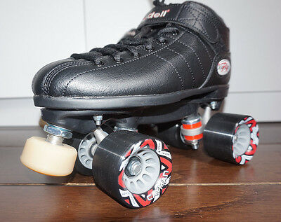 Riedell R3 Speed Roller Skates Black Size 6 Derby Gumball Toe-stop