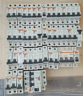 Schneider Merlin Gerin Multi 9 C60 Mcb Job Lot Of 49 Mcbs 10A 16A 20A 32A 40A