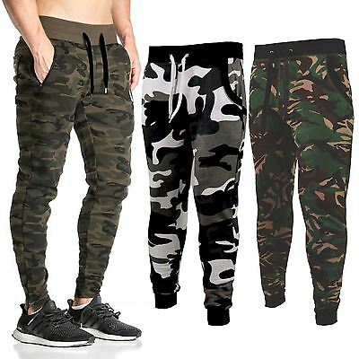 Mens Skinny Camouflage Joggers Camo Jogging Pants Fleece Army Gym Bottoms