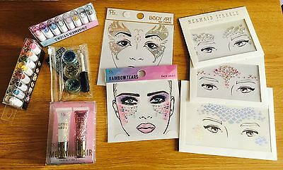 Unicorn & Mermaid Holographic Festival Face Hair Lips Nails Glitter 8 NEW items