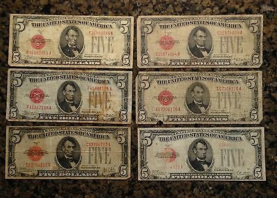 6 $5 Dollar Notes Red Seal  1928