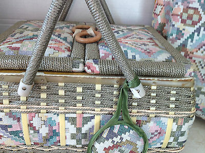 Vintage Sewing Basket Box with Matching Accessory Holder