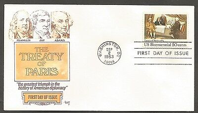Us Fdc 1983 Treaty Of Paris 20C Stamp Marg Cachet First Day Of Issue Cover