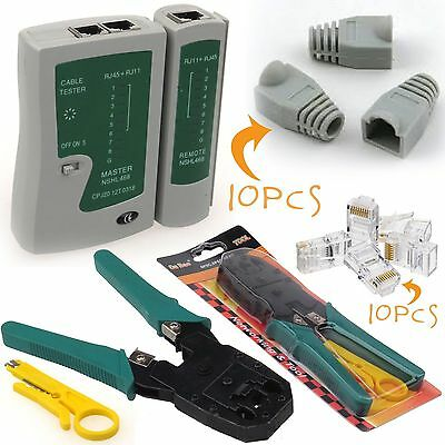 RJ45 Cat 5e Cat 6 Network Kit LAN Cable Tester Crimping Tool Connectors boots