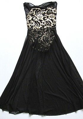 Weissman Dance Costume Black With Gold Sequins Size LC Child's Large