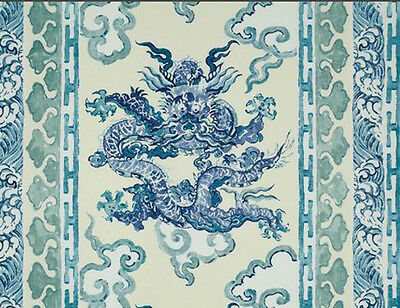 """1 Metre of Enter The Dragons by Jim Thompson, 54""""width, Linen, ANTIQUE BLUE"""