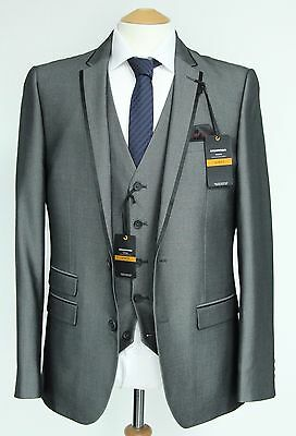 Men's Grey 3pc suit with Black trims (40R)... sample 572