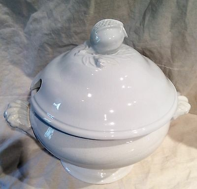 Antique White Ironstone  Soup Tureen Pomegranate Finial James Edwards Dalehall