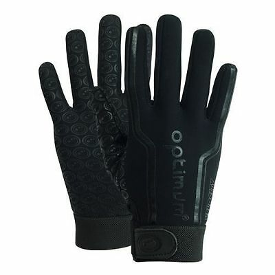 "Optimum ""velocity"" Full Finger Thermal Rugby Gloves - Plain Black - Pair."