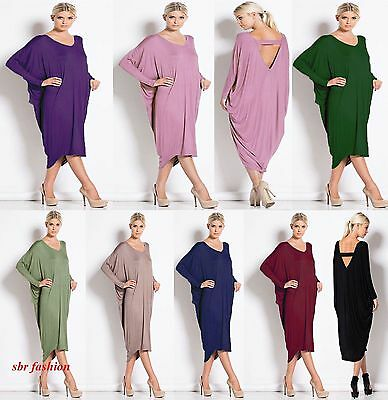 Women CrewNeck Long Sleeve Backless Batwing Cocktail Partywear Baggy Midi Dress