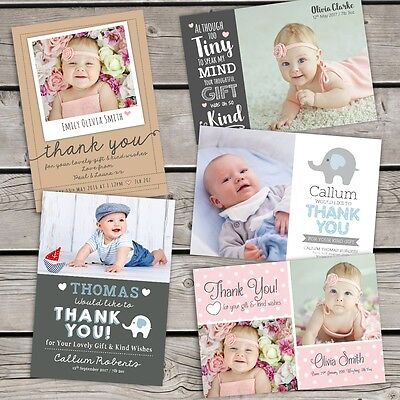 10 x  Personalised Thank You Cards ~ Baby Boy or Girl / Birthday / Christening